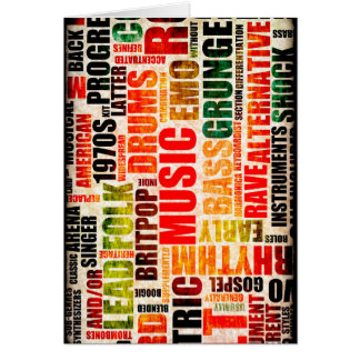Music Background With Different Genres and Types Card