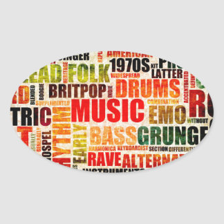 Music Background With Different Genres and Types Oval Sticker