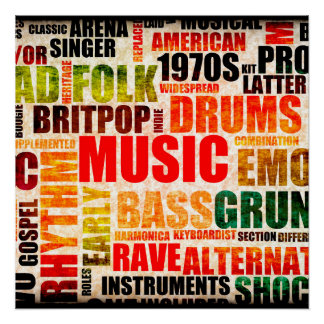Music Background With Different Genres and Types Perfect Poster