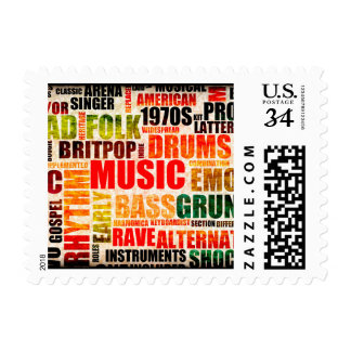 Music Background With Different Genres and Types Postage