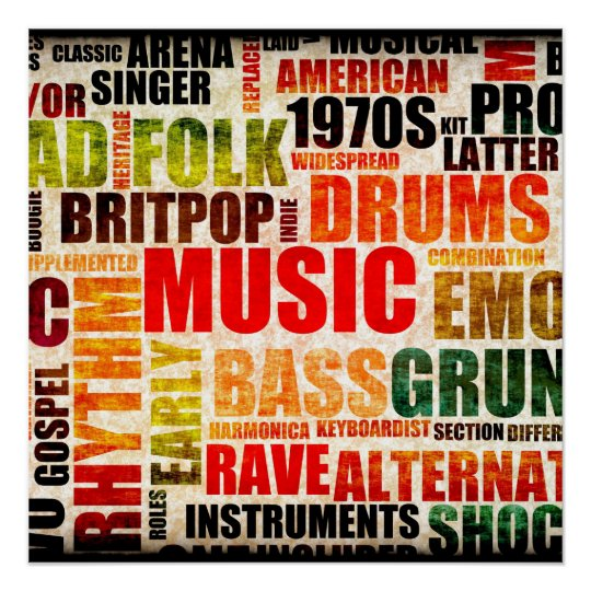 music genres wallpapers: Music Background With Different Genres And Types Poster