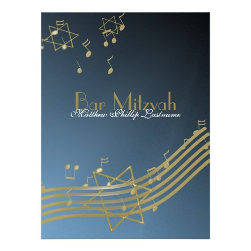 Music Bar Mitzvah 8.75 Personalized Announcement
