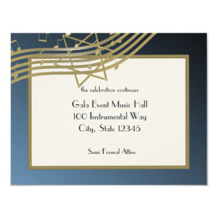 Music Bar Mitzvah Reception Card at Zazzle