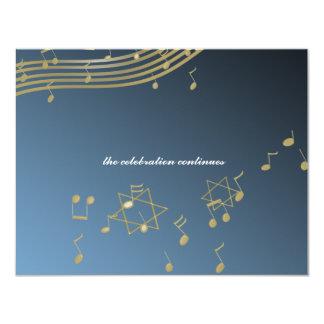 "Music Bar Mitzvah/ Reception Card 4.25"" X 5.5"" Invitation Card"
