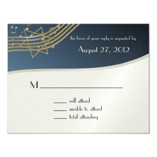 "Music Bar Mitzvah Response Card 4.25"" X 5.5"" Invitation Card"