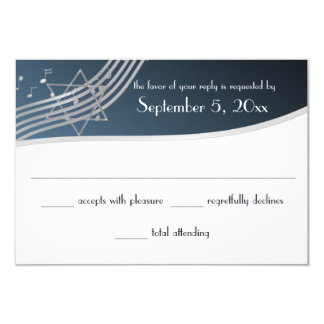 Music Bar Mitzvah Response Silver Blue 3.5x5 Paper Invitation Card
