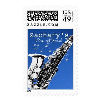 Music Bar Mitzvah Saxophone Postage Stamp