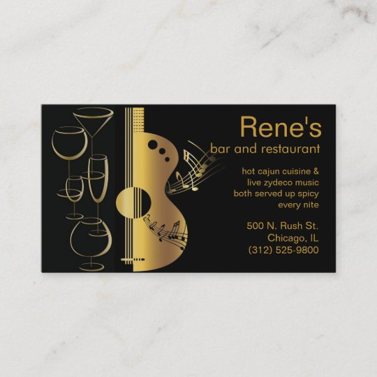 music bar restaurant business card - Restaurant Business Card