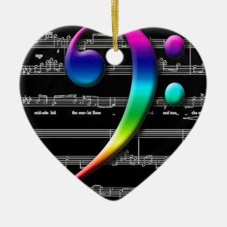 Music Bass Clef Rainbow Gifts Ceramic Ornament