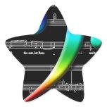 Music Bass Clef Rainbow Gifts Star Sticker
