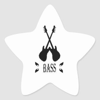 Music Bass Silhouette Star Sticker