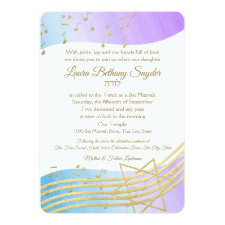 Music Bat Mitzvah Watercolor and Gold Invitation