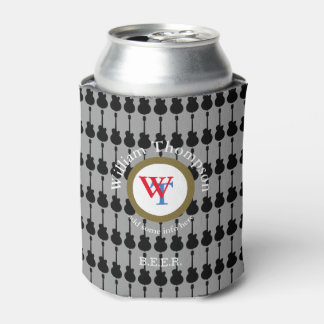 music & beer, guitar inspired, circle monogram can cooler