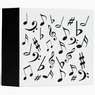 Music Binder - White With Black Musical Notes