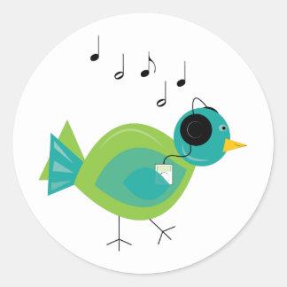 Music Bird Classic Round Sticker