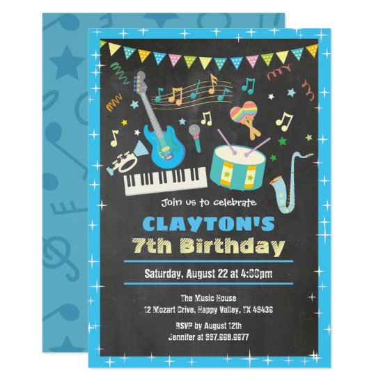 Music birthday invitation chalkboard boy