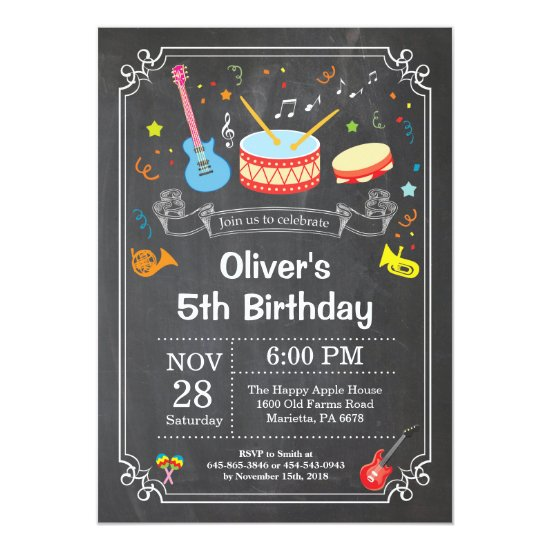 Music Birthday Party Invitation Chalkboard