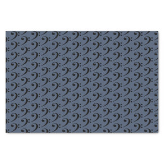 Music Black Bass Clef on Blue Jeans Blue Tissue Paper