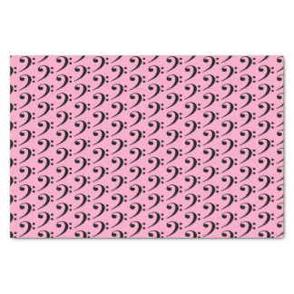 """Music Black Bass Clef on Carnation Pink 10"""" X 15"""" Tissue Paper"""