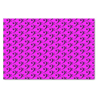 """Music Black Bass Clef on Pink 10"""" X 15"""" Tissue Paper"""