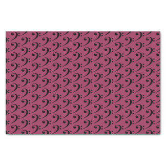 """Music Black Bass Clef on Sangria Pink 10"""" X 15"""" Tissue Paper"""