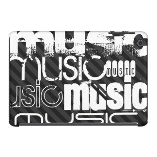 Music; Black & Dark Gray Stripes iPad Mini Covers