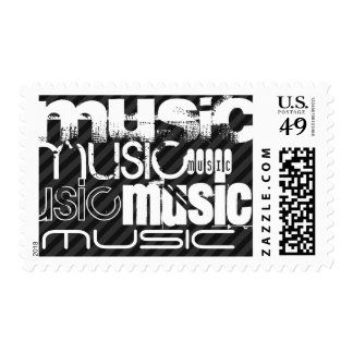 Music; Black & Dark Gray Stripes Stamps