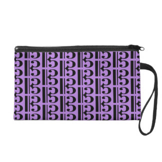 Music Black Tenor Alto Clef on Lavender Purple Wristlet Purse