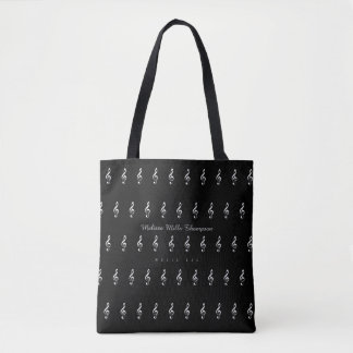 music black tote with name