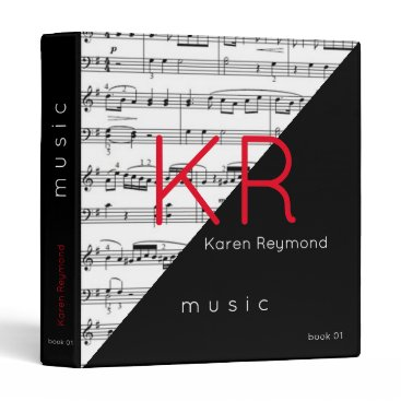 USA Themed music-book / musical notes music 3 ring binder