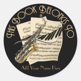 Music Bookplate Classic Round Sticker