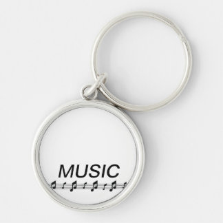Music bottom with staff at bottom Silver-Colored round keychain