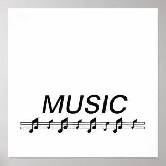Music bottom with staff at bottom print
