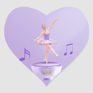 Music Box Ballerina Customizable Heart Sticker