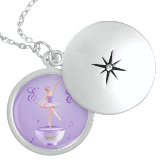 Music Box Ballerina Customizable Locket Necklace