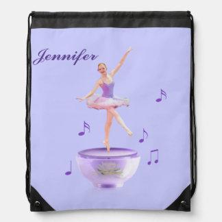 Music Box Ballerina, Customizable Name Cinch Bag