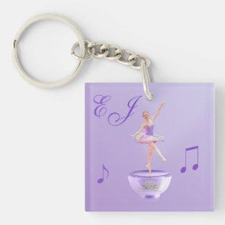 Music Box Ballerina with Monogram Keychain