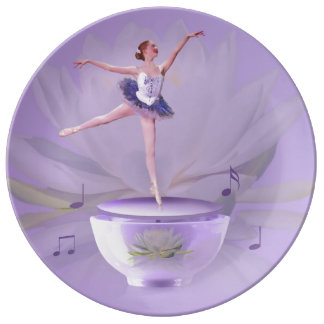 Music Box Ballerina with Water Lily, Customizable Porcelain Plate