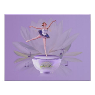 Music Box Ballerina with Water Lily Poster
