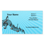 Music Business Card - Black Music Notes - Blue