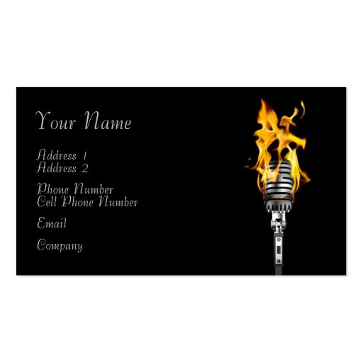 Music Business Card Flaming Microphone