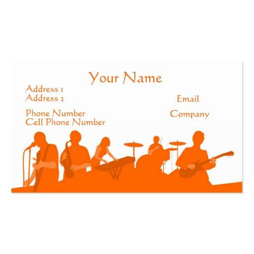 Music Business Card Orange Rock Band