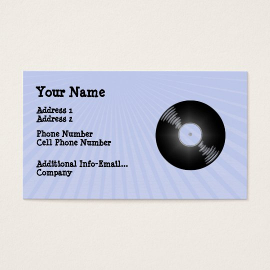 Music Business Card - Record - LP - Retro