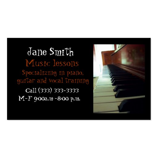 Music business card templates zazzle for Music business card template