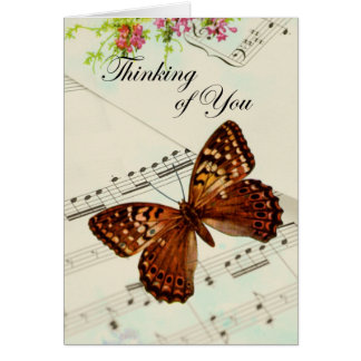 Music Butterfly Thinking of You Greeting Card