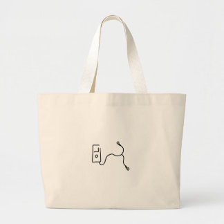 Music by mp3 and headphone large tote bag