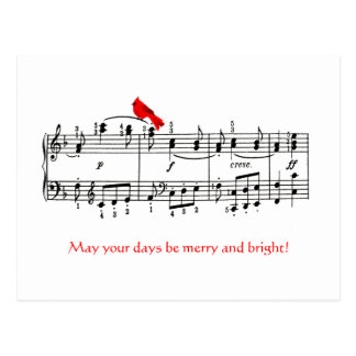 Music & Cardinal Red Bird Christmas Postcard