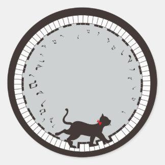 Music Cat Classic Round Sticker