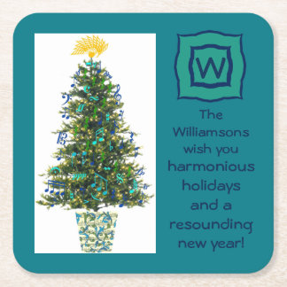 Music Christmas Tree Custom Themed Wishes Initial Square Paper Coaster