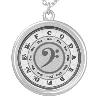 Music Circle of Fifths - Bass Clef version Round Pendant Necklace
